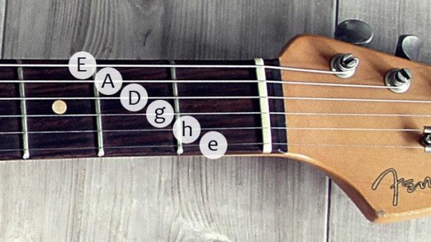 Saiten einer Gitarre